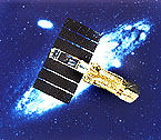 artist conception of ASCA satellite in orbit