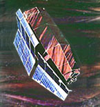 artist conception of Einstein satellite in orbit