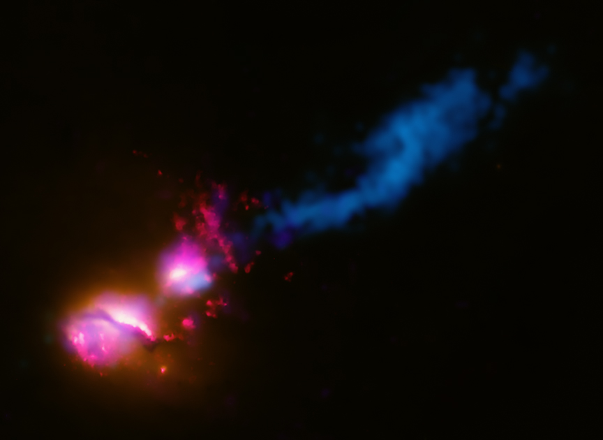 3C321 blasting neighboring galaxy
