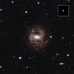 Optical image of RGG 118; inset: X-rays from the central black hole