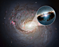 Active galazy NGC 1068 and artist rendering of ita central black hole