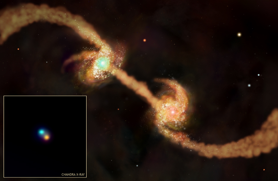 Simulation of merging galaxies and Chandra image of central blackholes in mergers
