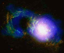 X-ray, optical and radio image of the Teacup galaxy