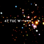 Chandra image of 47 Tuc W, a double star system consisting of a normal star and a neutron star