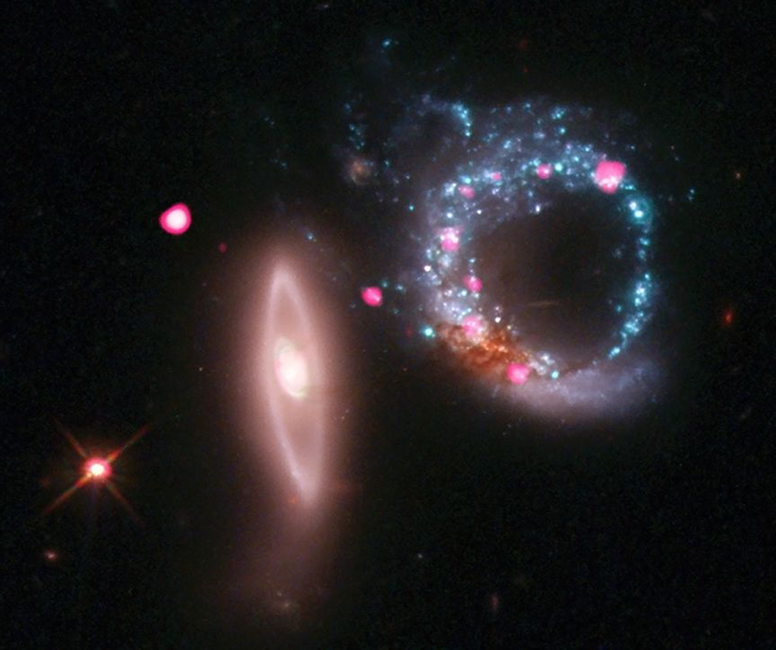 X-ray/optical image of Arp 147, showing ring of black holes