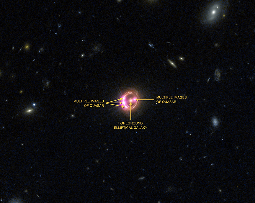 Composite optical/x-ray image of lensed quasar RX J1131-1231 showing gravitational lensing