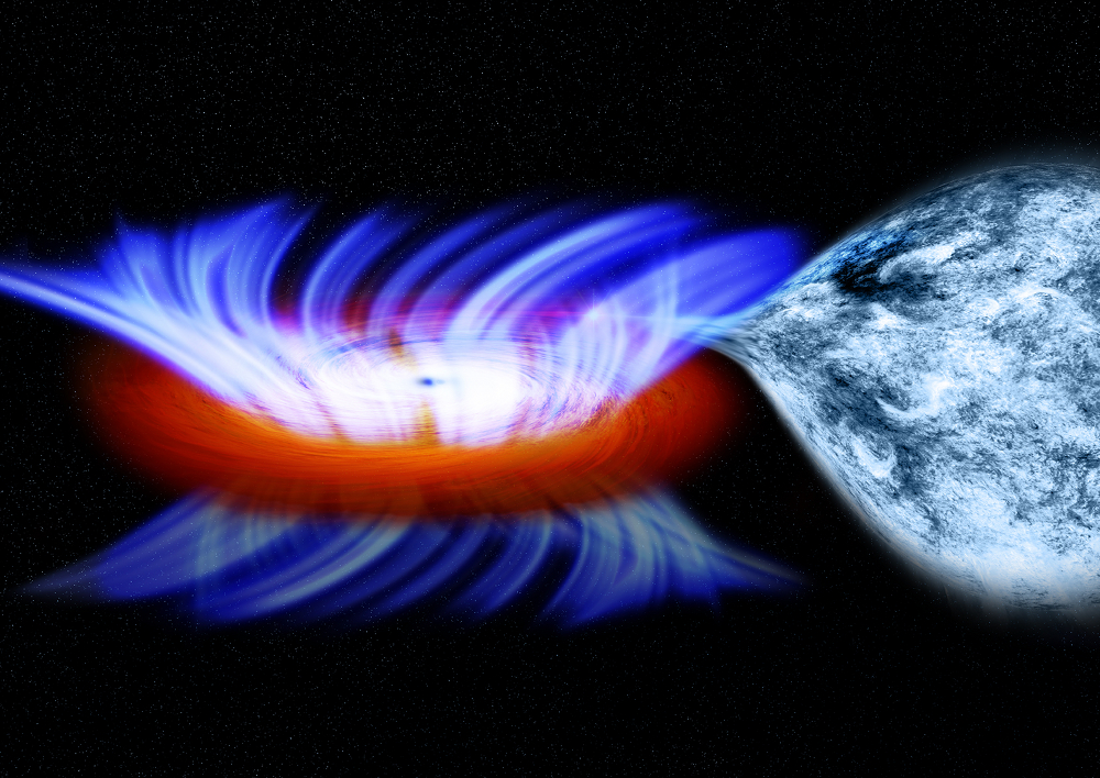 Artist's impression of a binary system containing a stellar-mass black hole called IGR J17091-3624