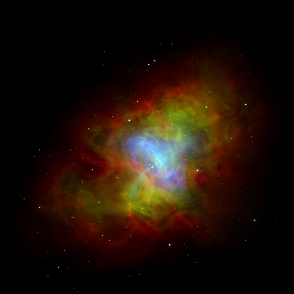 Radio, optical and X-ray composite of the Crab Nebula