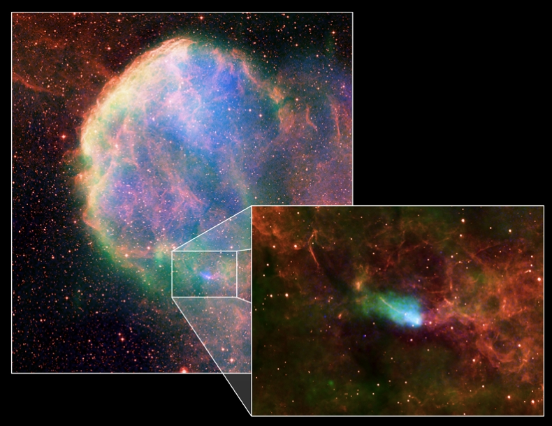 Composite Image of IC 443 and NS wake