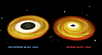 Artist interpretation of accretion disks around spinning and non-spinning black holes