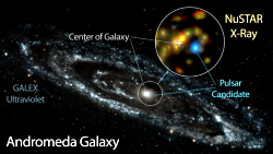 NuSTAR observation of a high energy accreting neutron star system in the Andromeda Galaxy