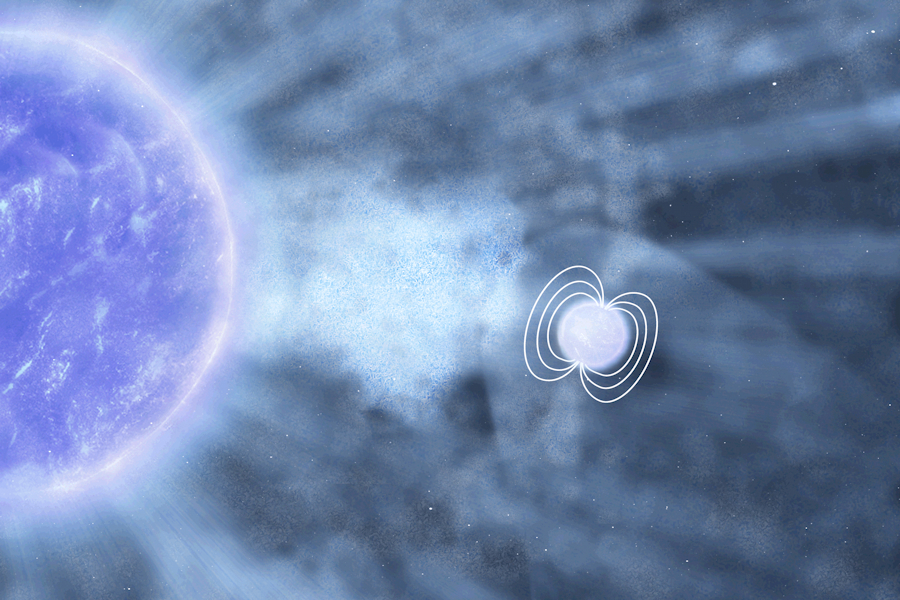 Artist impression of neutron star in the IGR J18410-0535 system about to accrete a clump of matter