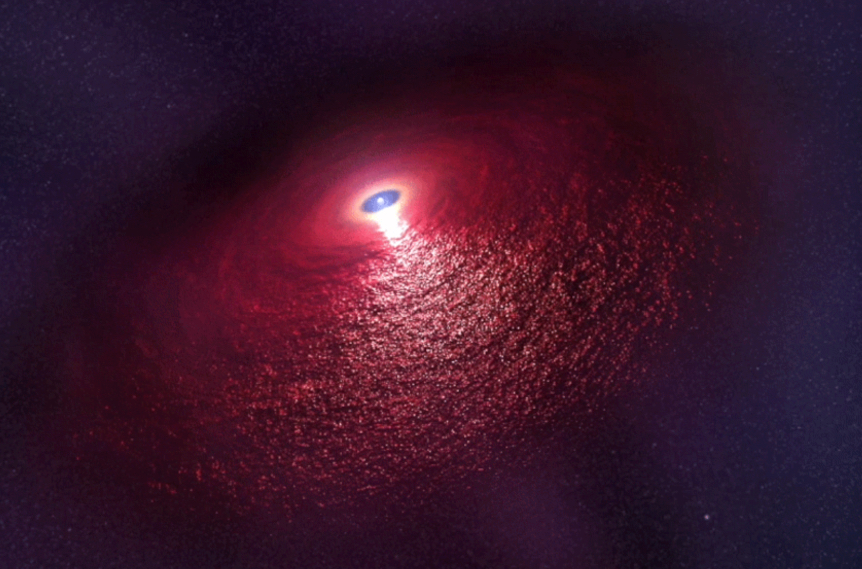Illustration of a dust disk discovered around  neutron star RX J0806.4-4123
