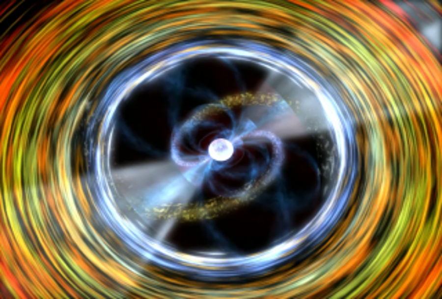 Artist impression shows the top view of an accreting milisecond pulsar