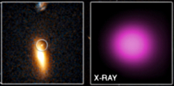 Optical and X-ray image of an extragalactic, off-center supermassive black hole hyperluminous X-ray source
