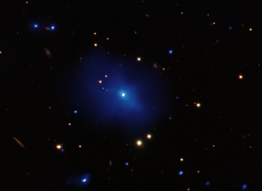 Chandra+optical image of galaxy cluster associated with 3C 186