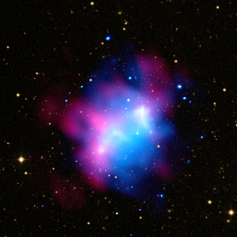 composite X-ray and radio image of Abell 1758