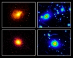 montage of X-ray and optical images of clusters