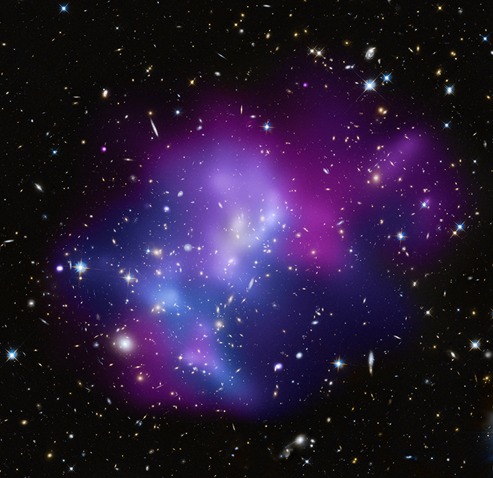 Chandra and optical composite of the collision of 4 galaxy clusters