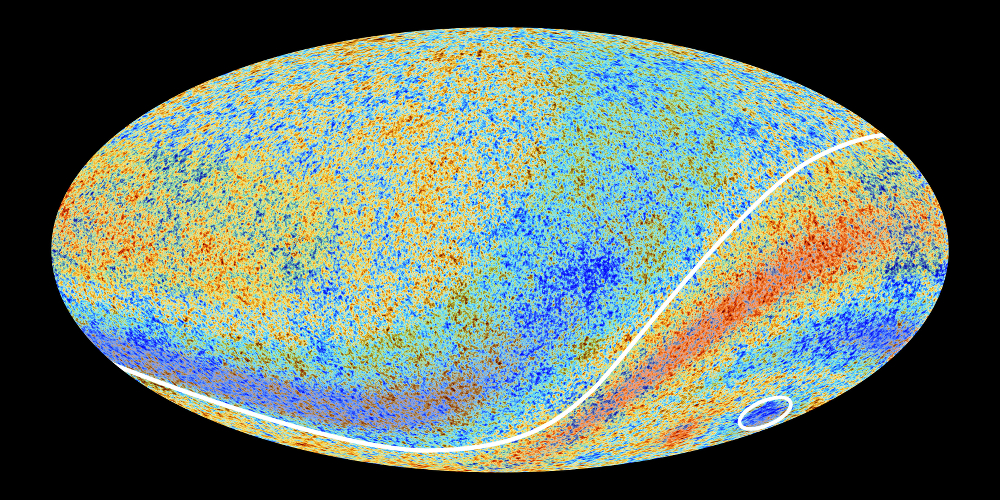 Planck all sky cosmic microwave background map highlighting the spatial anomalies