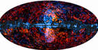 Planck (blue) and Fermi (red) all sky images superimposed