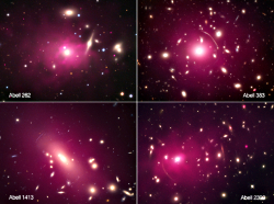 Chandra (purple) and optical observations tracing normal and dark matter distributions in galaxy clusters