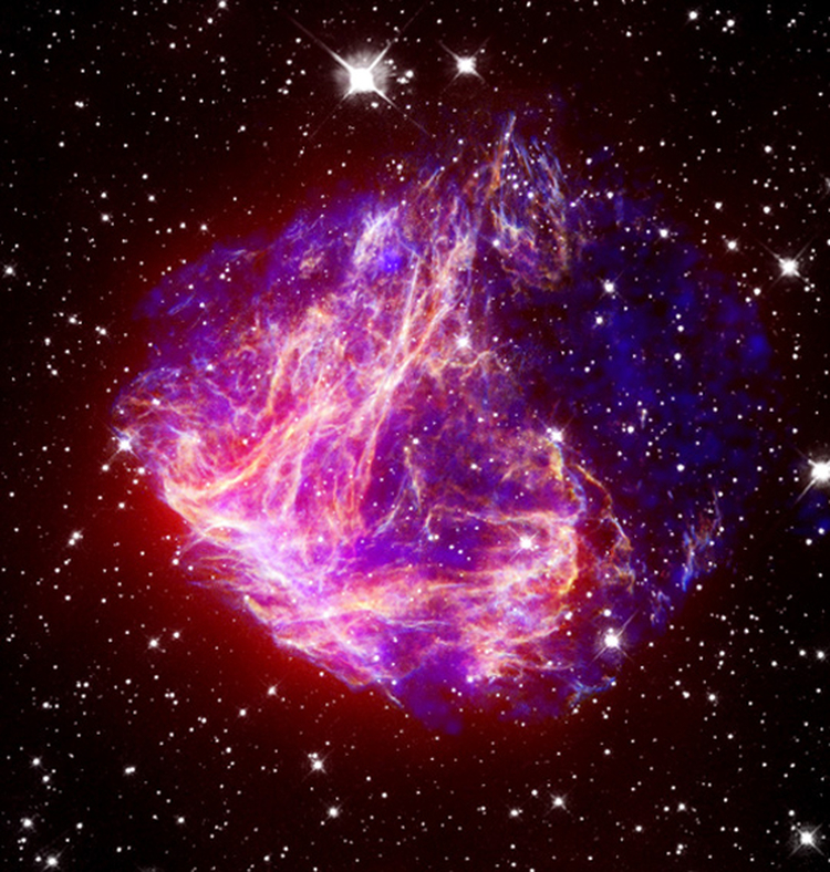 IR, optical and X-ray image of supernova remnant N49