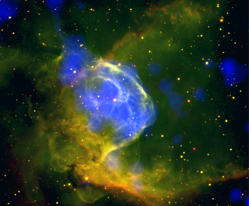 X-ray and optical composite image of the Thor's Helmet nebula (NGC 2359)