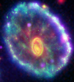 Multi-wavelength composite of the Cartwheel galaxy
