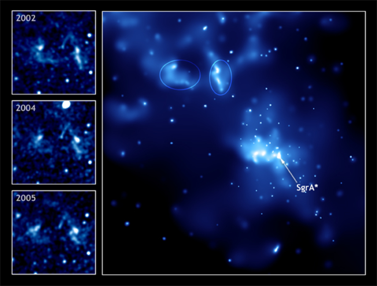Chandra image of light echoes near galactic center