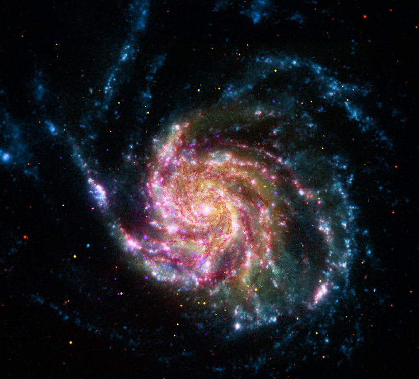 Spitzer (red), Hubble (yellow), Galex (blue) and Chandra (purple) composite of M101