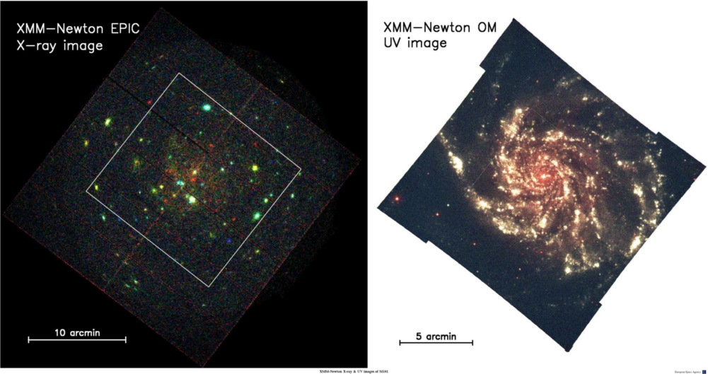 M101 in optical and X-ray light, by XMM-Newton
