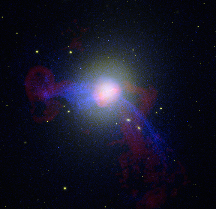 Composite View of giant elliptical M87