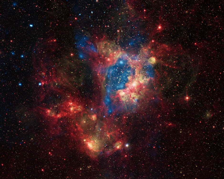composite image shows a superbubble in the Large Magellanic Cloud (LMC)