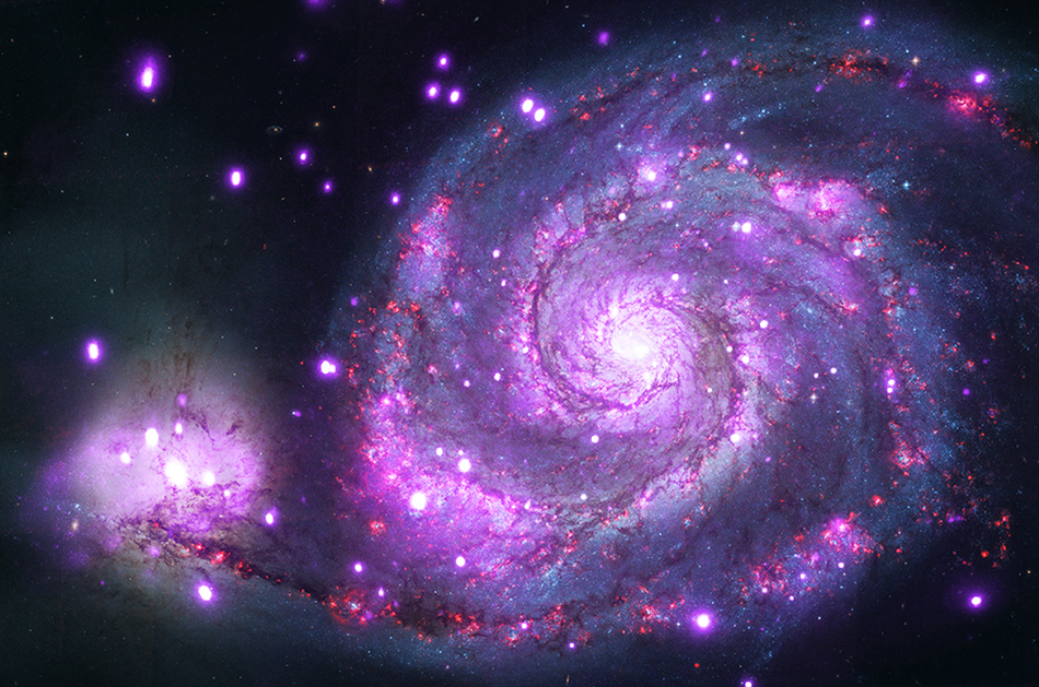 Million-second Chandra X-ray image, and Hubble Space Telescope image of the Whirlpool Galaxy