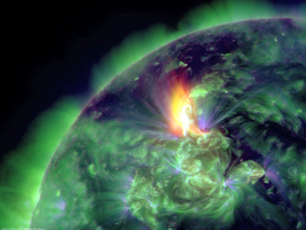 SDO image of January 19 2012 solar flare