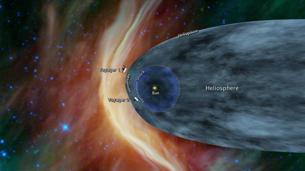 Illustration of Voyager 2 leaving the solar system