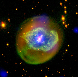 X-ray and optical image of planetary nebula Abell 78