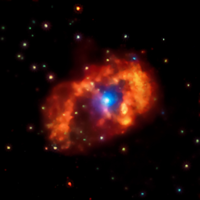 Chandra energy-coded X-ray image of eta Carinae