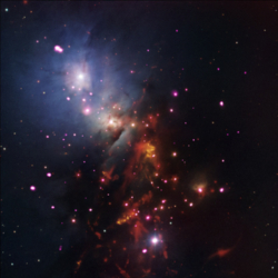 Composite X-ray, IR and optical image of star cluster NGC 1333