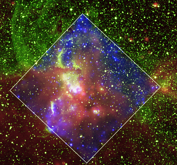Chandra, IR and optical composite of NGC 3576
