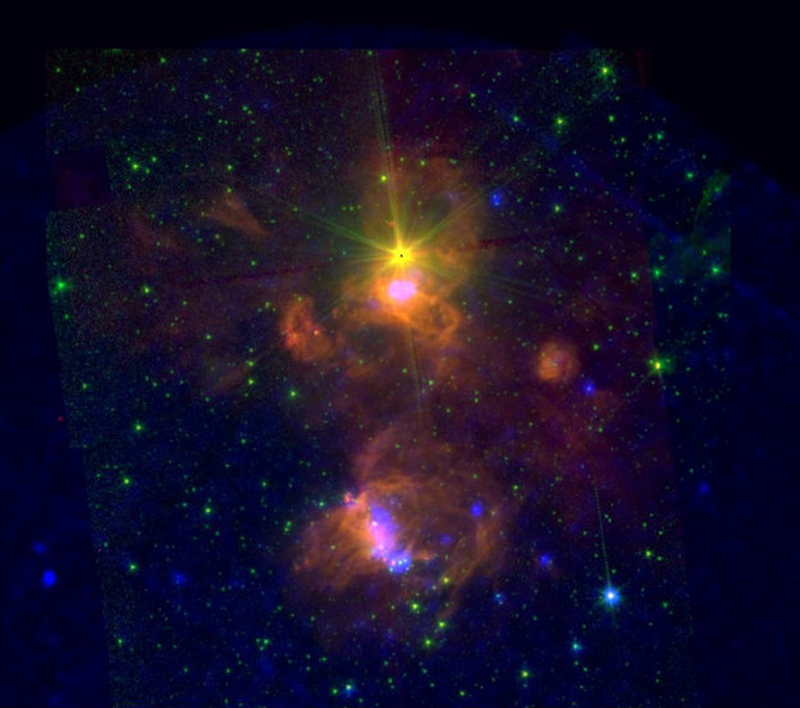 Spitzer and XMM-Newton image of the massive star forming complex ON2