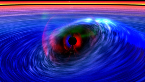 Artist conception of twisted spacetime near a black hole