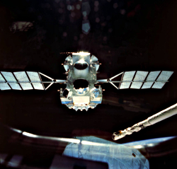 Release of CGRO from the shuttle bay on April 7, 1991