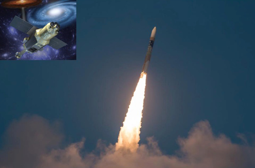 The launch of Hitomi; artist rendition of Hitomi on orbit (inset)