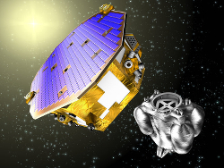 Artist's impression of ESA's LISA Pathfinder and its propulsion module after separation