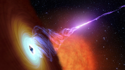 Illustration of an accretion disk around a black hole and jet, similar to the aftermath of a failed supernova