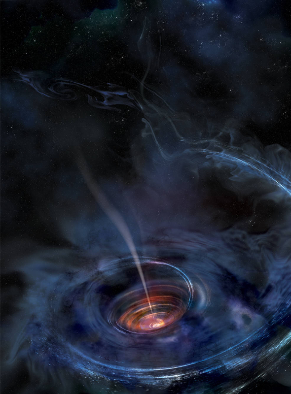 Illustration of a temporary accretion disk formed when a black hole devours a star