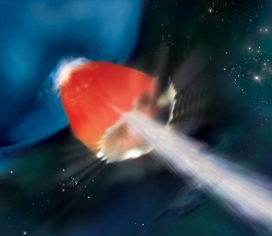 Artist rendition of a jet-driven supernova in a metal-poor blue supergiant star