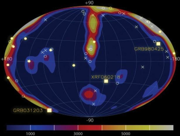 IBIS/INTEGRAL distribution map of faint GRBs